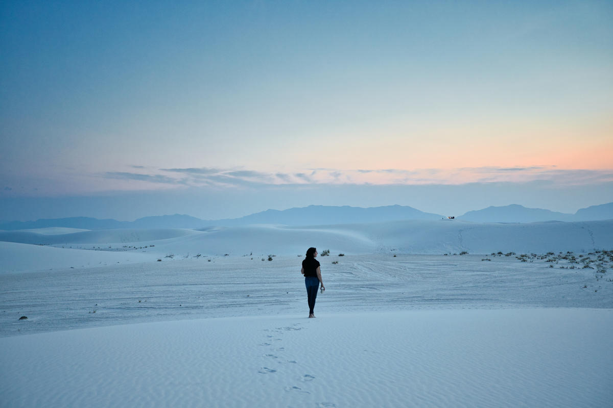 Hiking White Sands National Park at sunset
