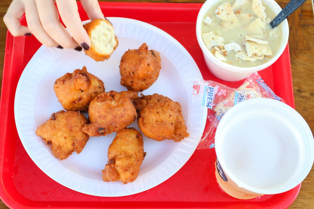Plate of crab cakes from Flo's Clam Shack in Middletown, RI