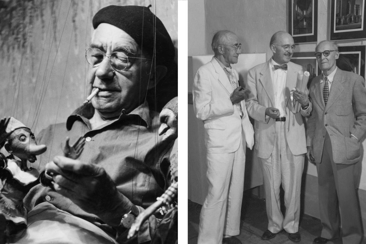 Baumann with hand-carved marionettes & Gustave Baumann, architect John Gaw Meem, and artist Ernest L. Blumenschein.