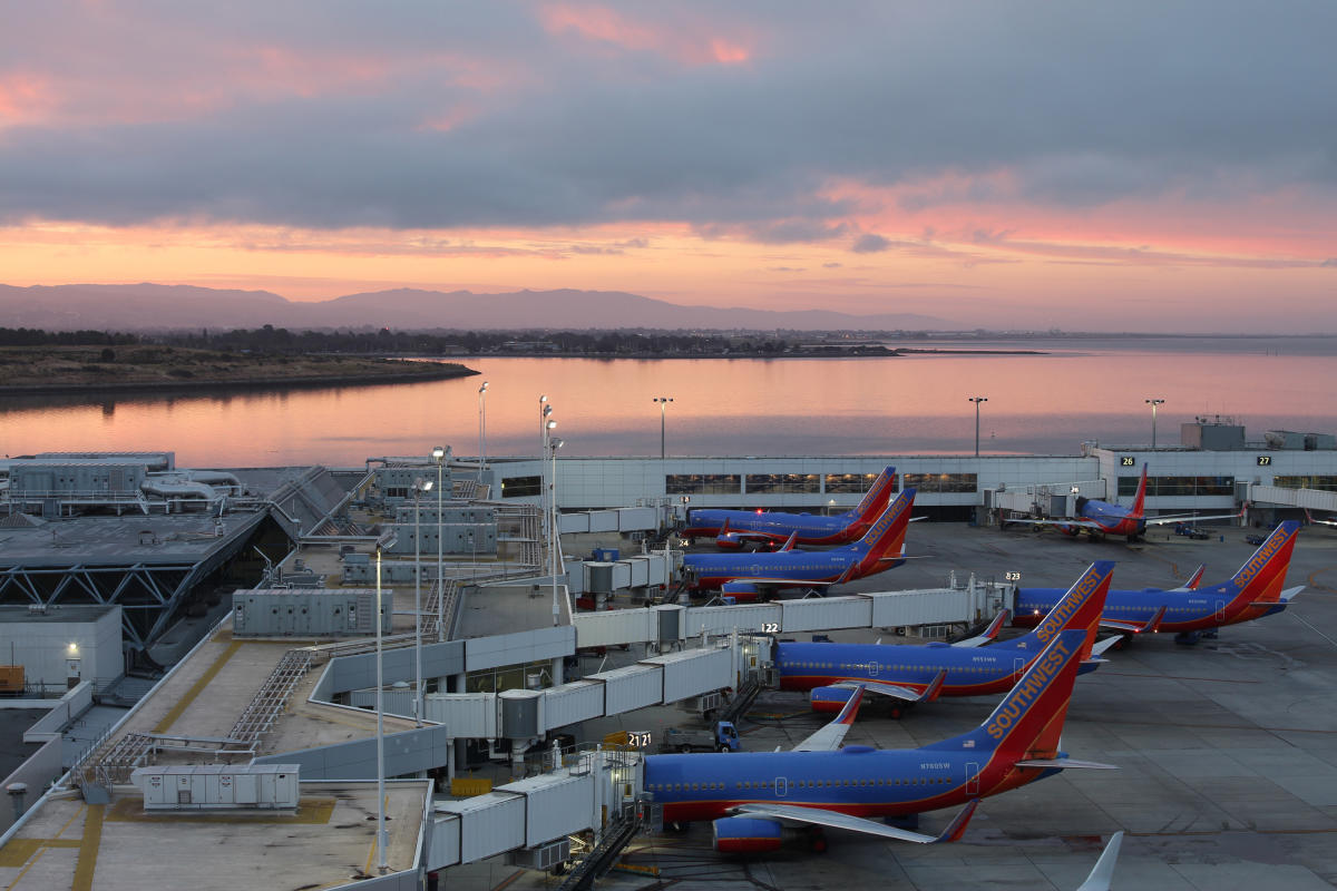 Aerial Sunset views from the Oakland International Airport