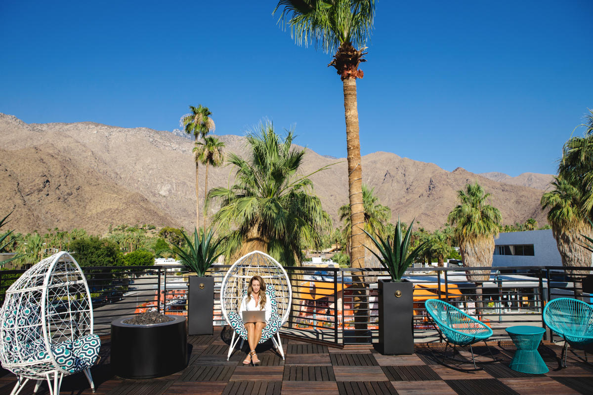 Remote working at the Flannery Exchange in downtown Palm Springs.