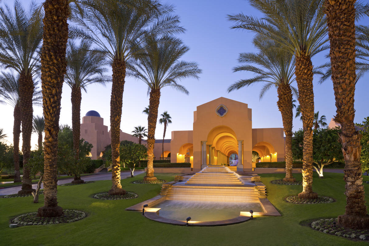 Entry to Westin Mission Hills Golf Resort and Spa at dusk
