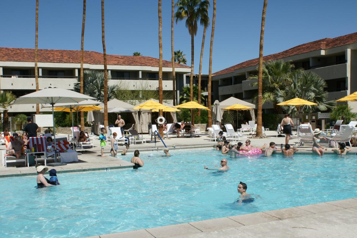 The pool area of the Hilton Palm Springs