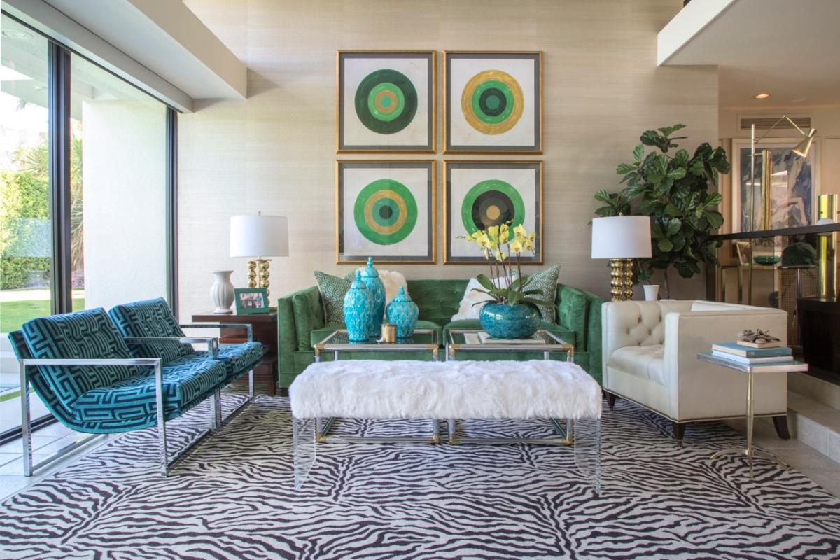 """The living room of the """"Seventies Sackley"""" home on tour during Modernism Week."""