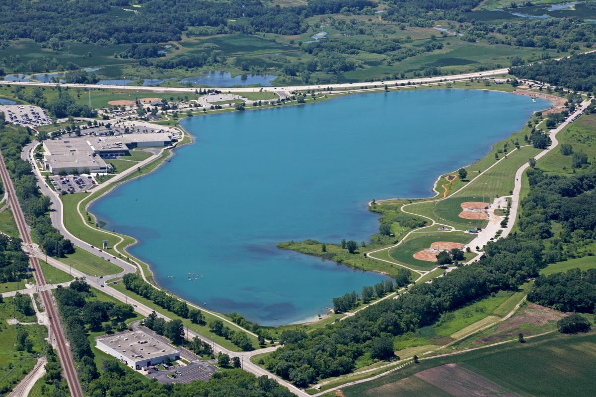 Aerial View of Prairie Springs Park from East Side