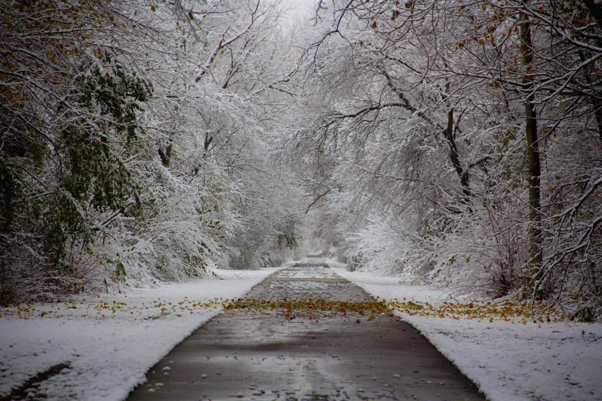 Kenosha County Bike Trail in Pleasant Prairie with Snow
