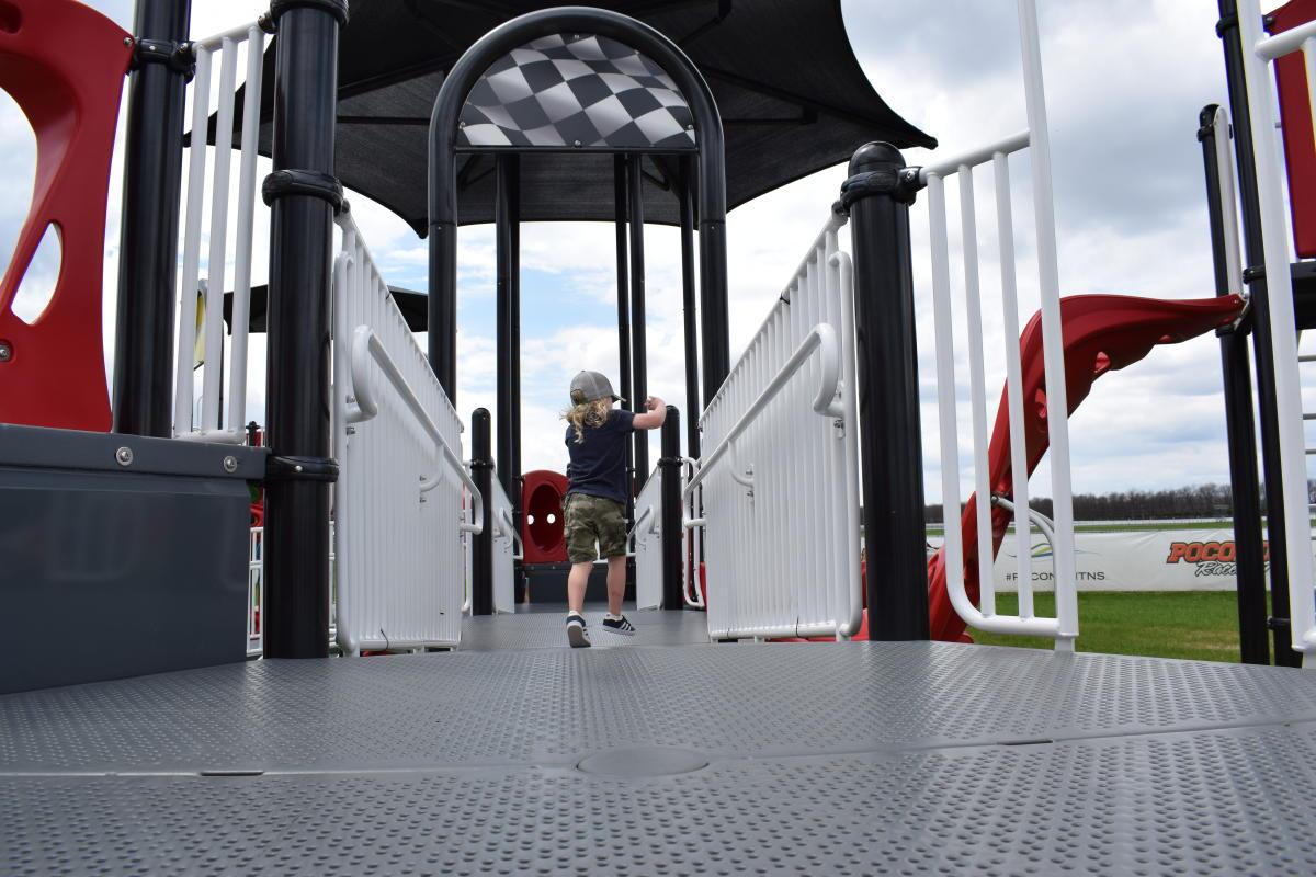 Kid Playing at Pocono Raceway's Playground