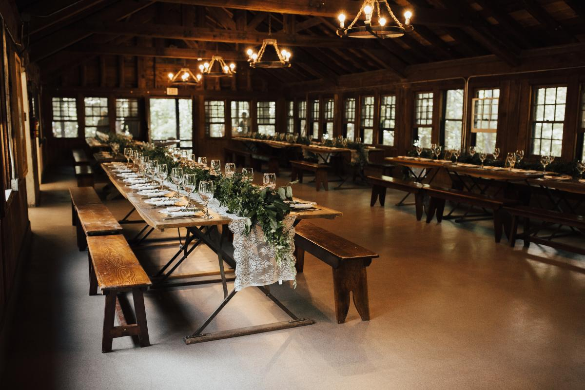 Rustic Cabin decorated for a wedding reception