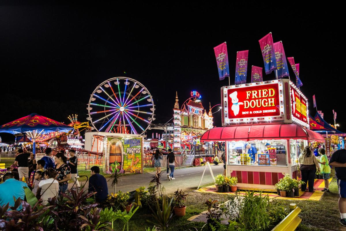 Night view of midway rides and eateries at Prince William County Fair 2017