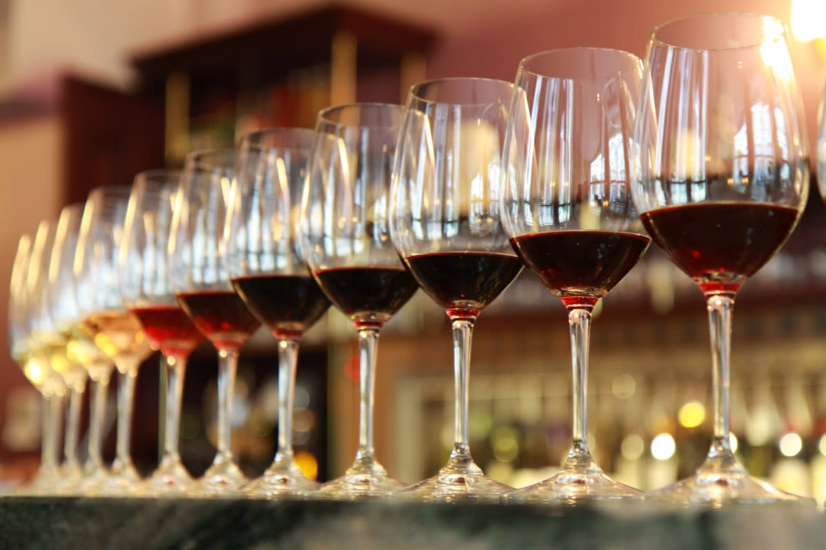 Trummer's Coffee and Wine Bar - glasses of  wine on a counter