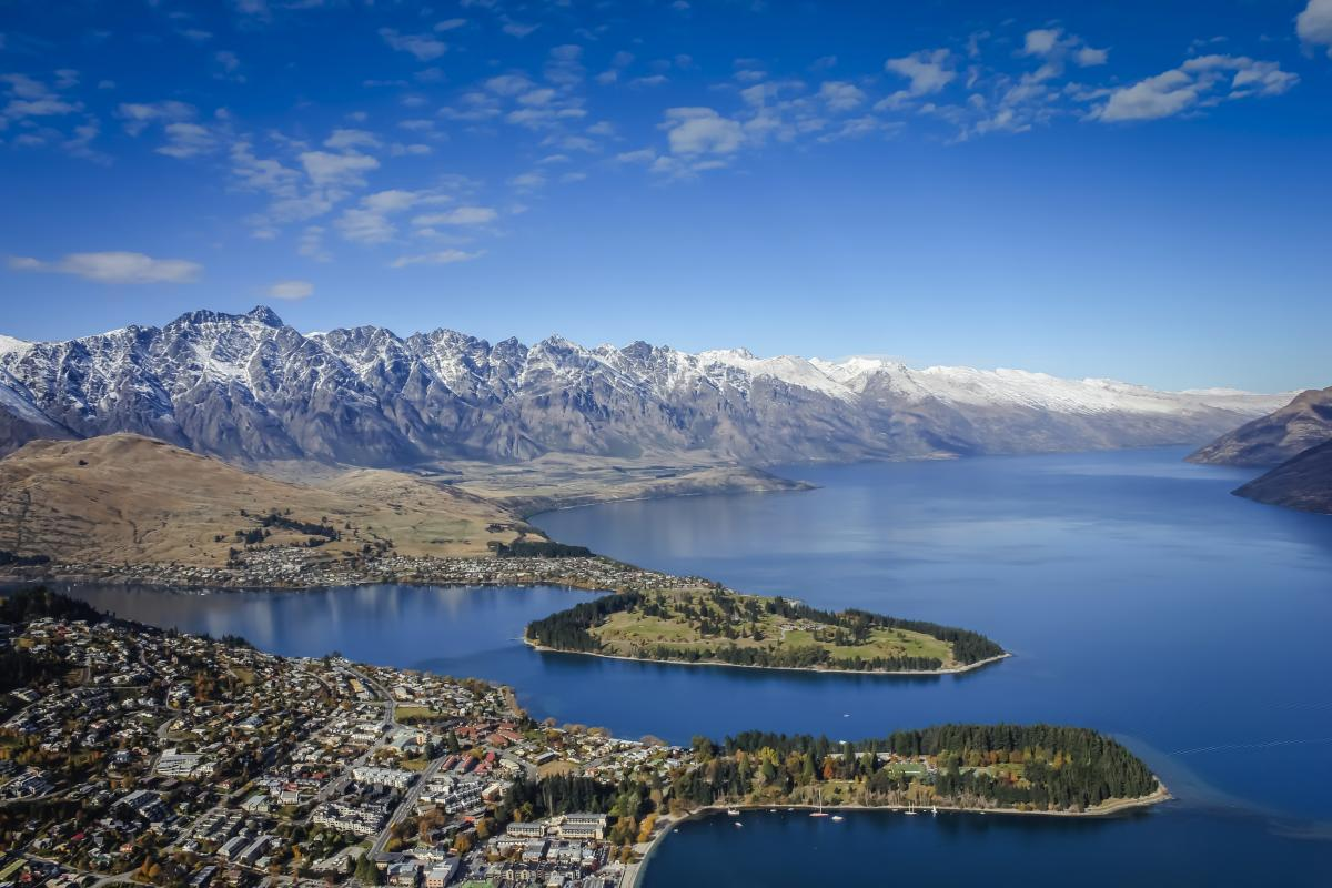 Queenstown aerial view in Spring
