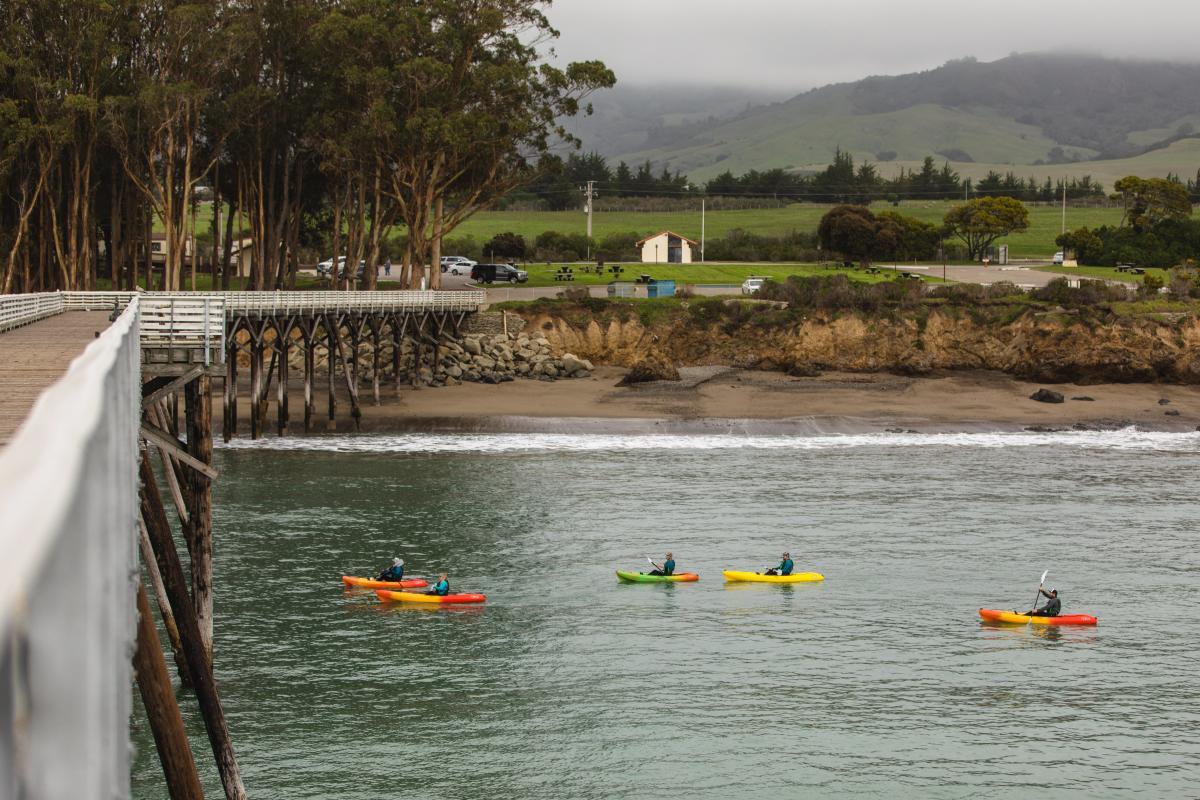 Kayakers in San Simeon Bay