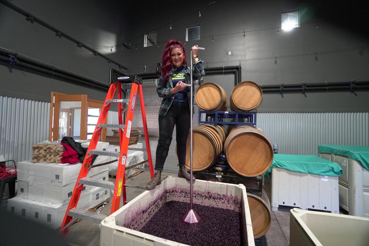 Nancy Ulloa of Ulloa Cellars making wine