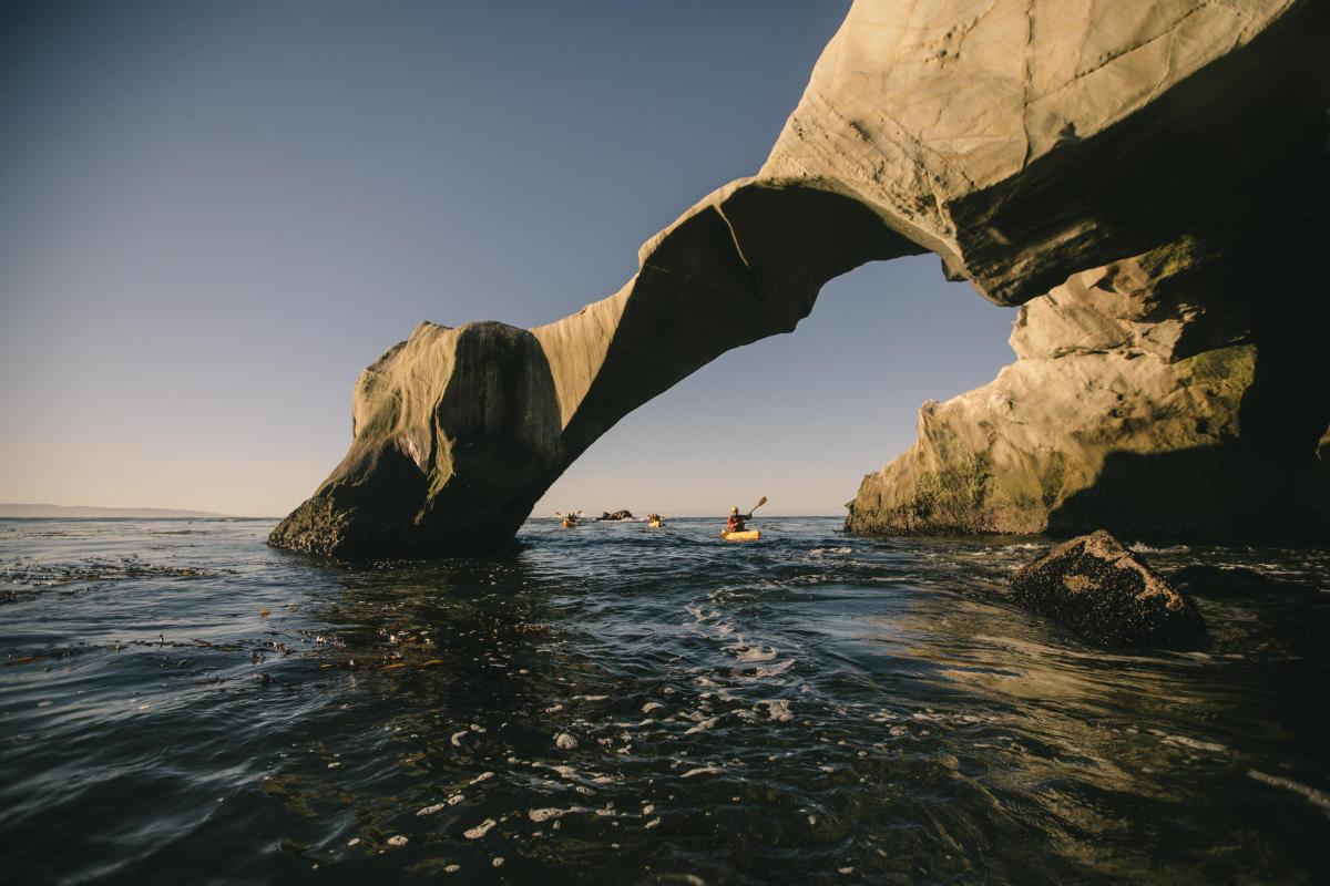 Kayakers paddling through Dinosaur Caves in San Luis Obispo