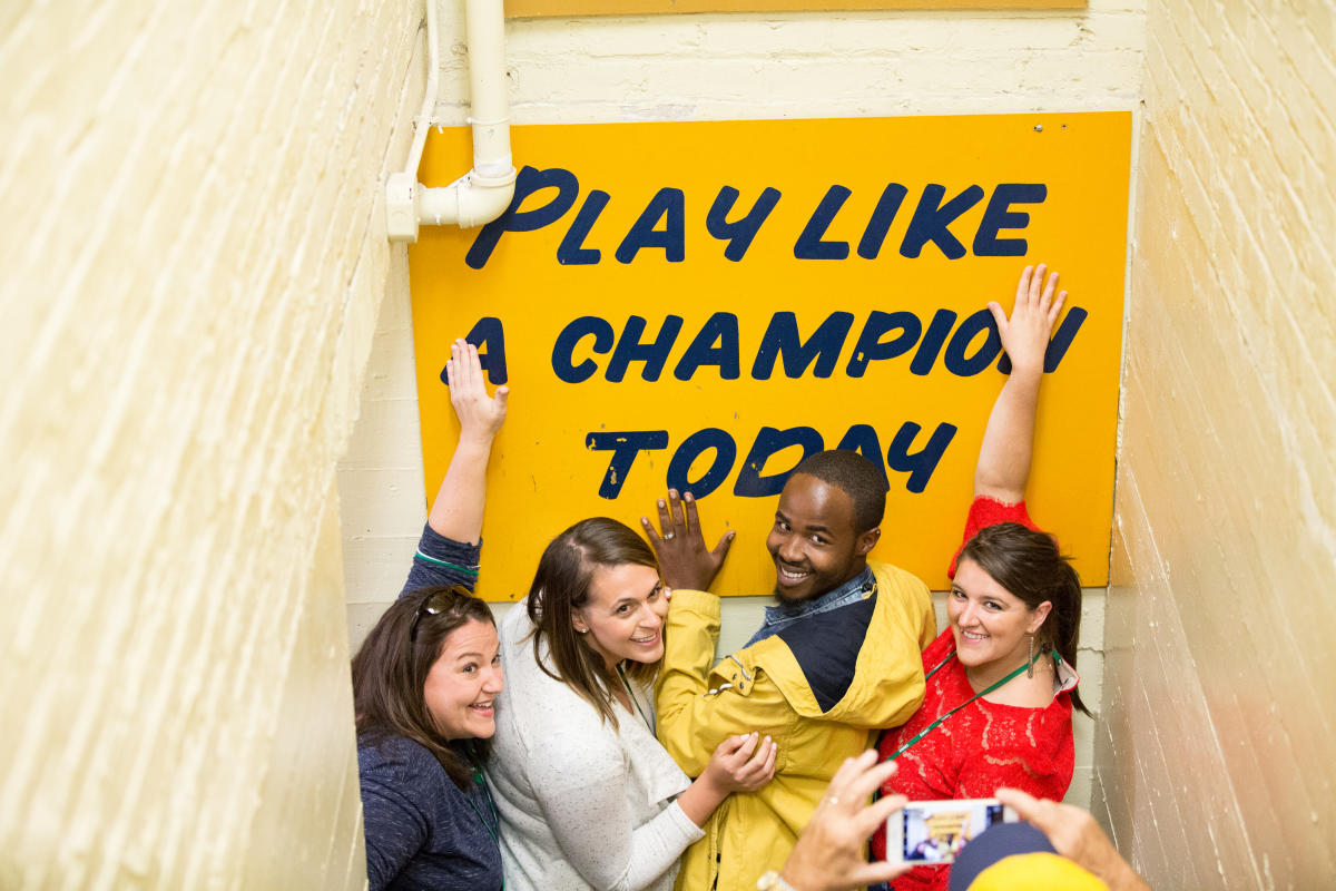 Play Like a Champion Today Sign at Notre Dame Stadium