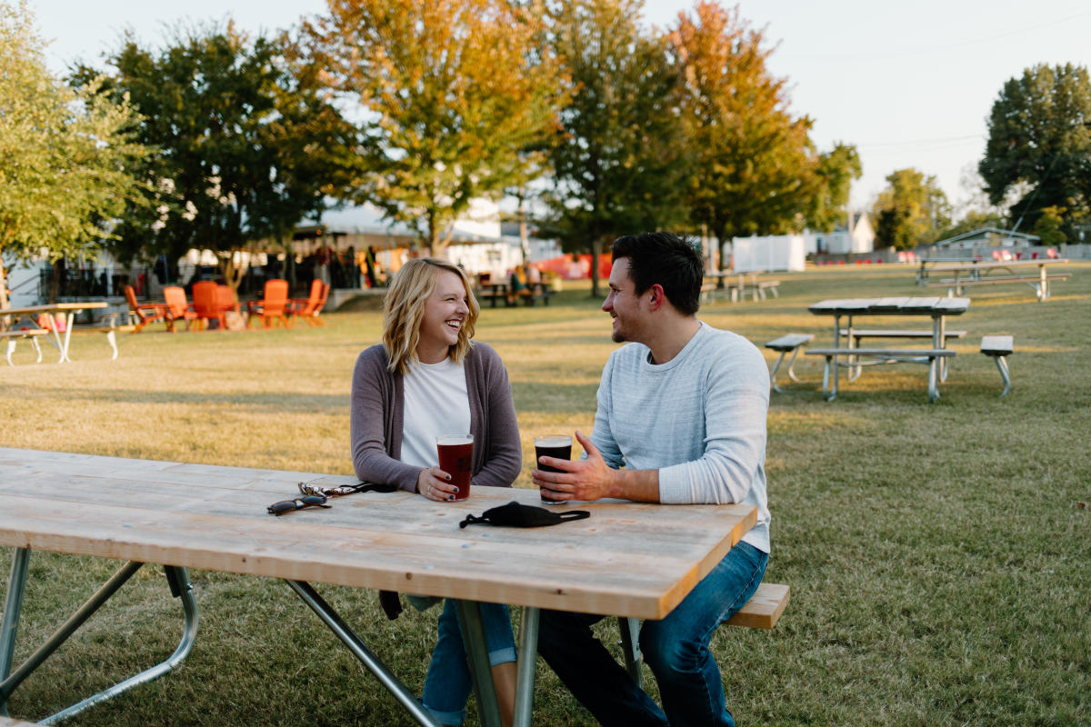 Couple drinking beer at Mother's Brewing Company in Springfield, Missouri