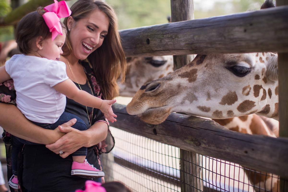 Parent and daughter feeding giraffe at Dickerson Park Zoo