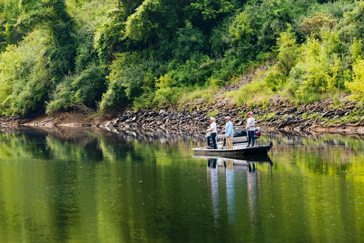 Fishermen fishing at Lake Taneycomo