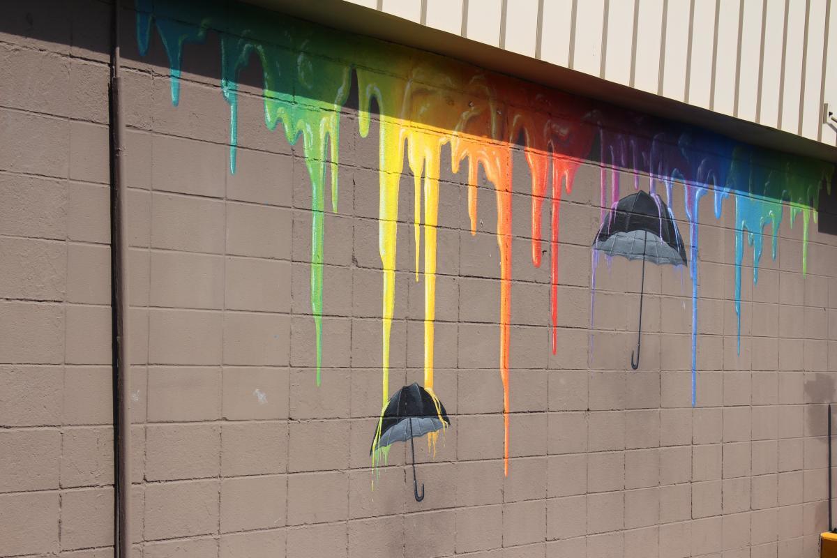 Rainbow Umbrella Mural
