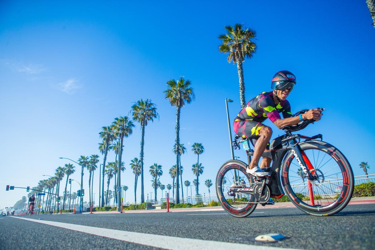 Man cycling on his bike in Huntington Beach