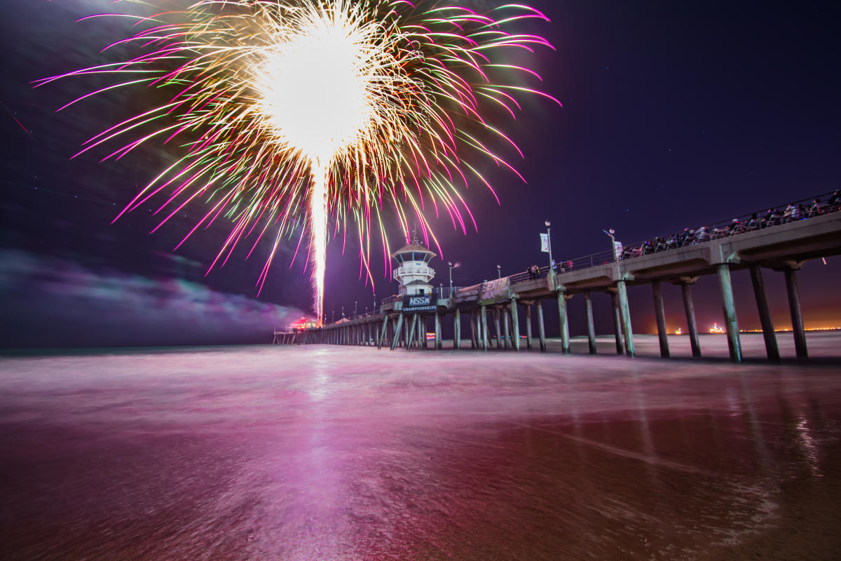 Huntington Beach Fireworks over the Huntington Beach Pier