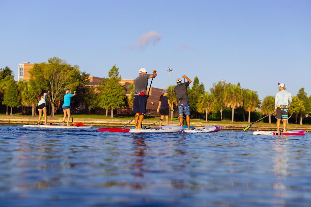 Urban Kai paddleboarding on the Hillsborough River