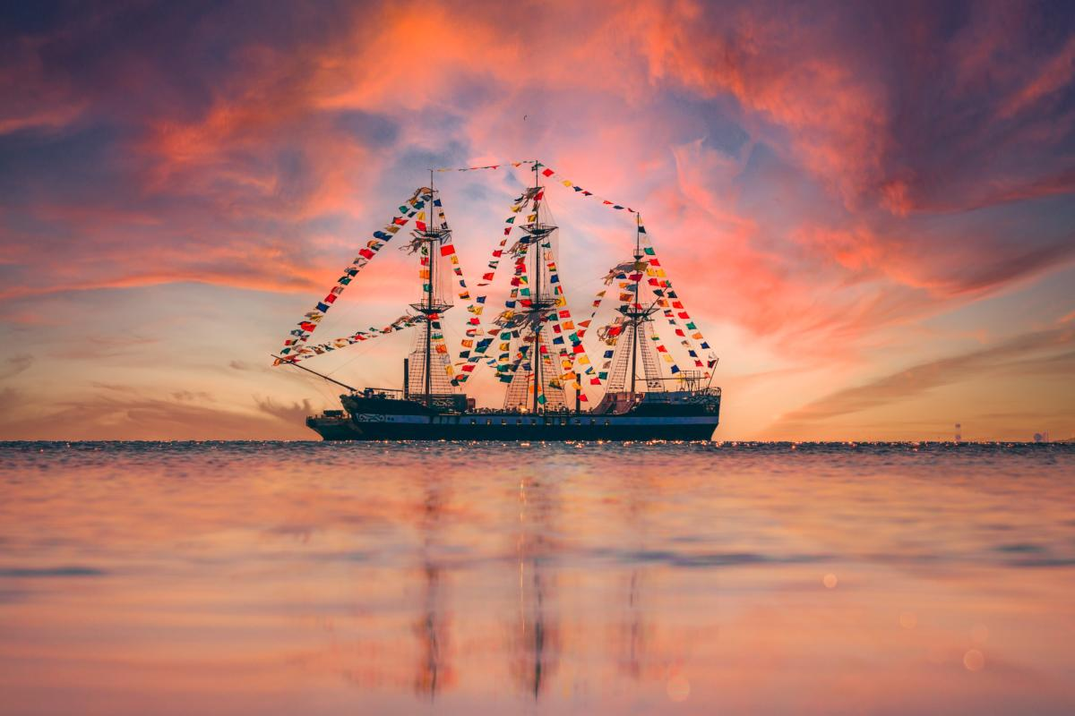Gasparilla Pirate Ship at Sunset