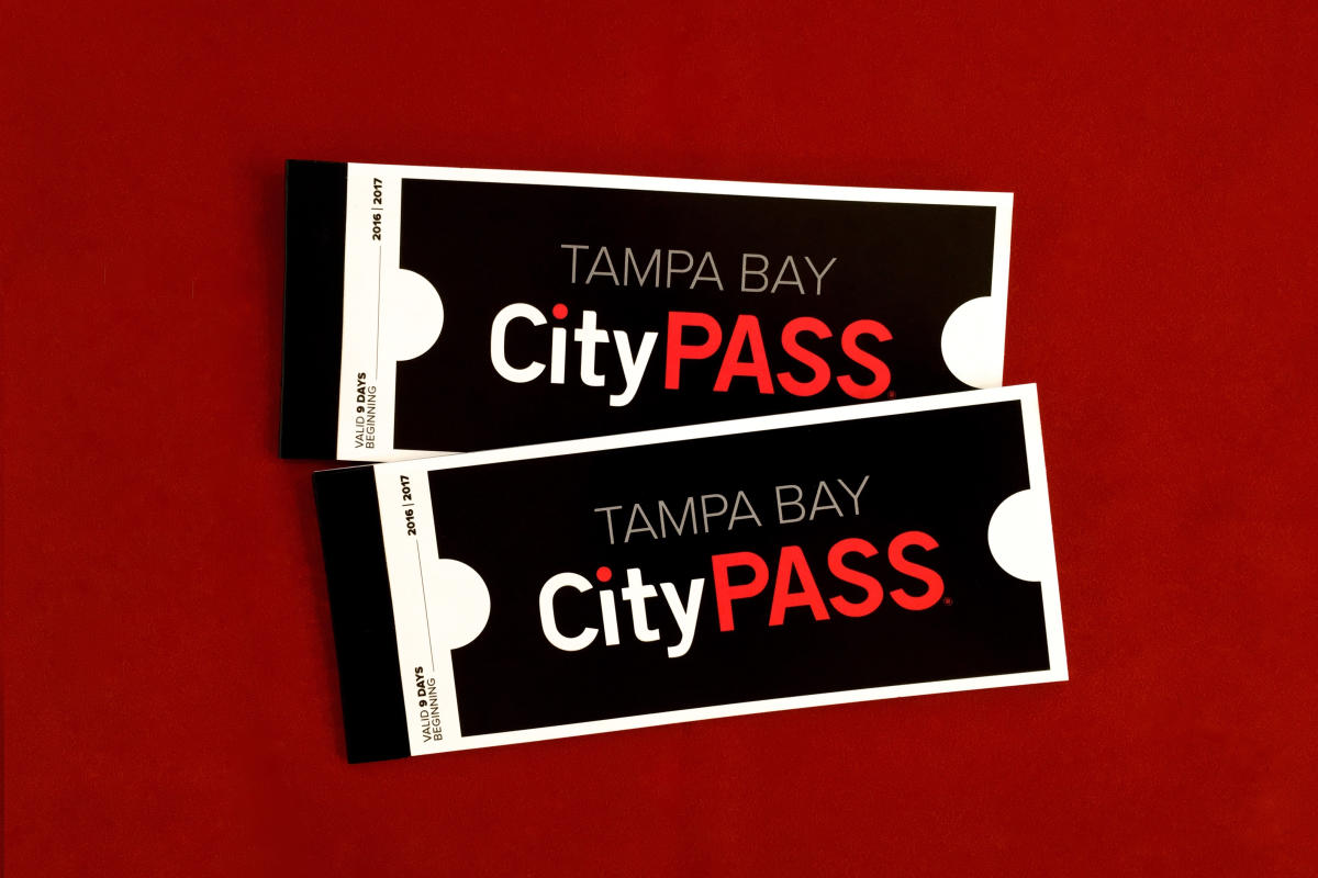 Tampa Bay CityPASS tickets on a red background