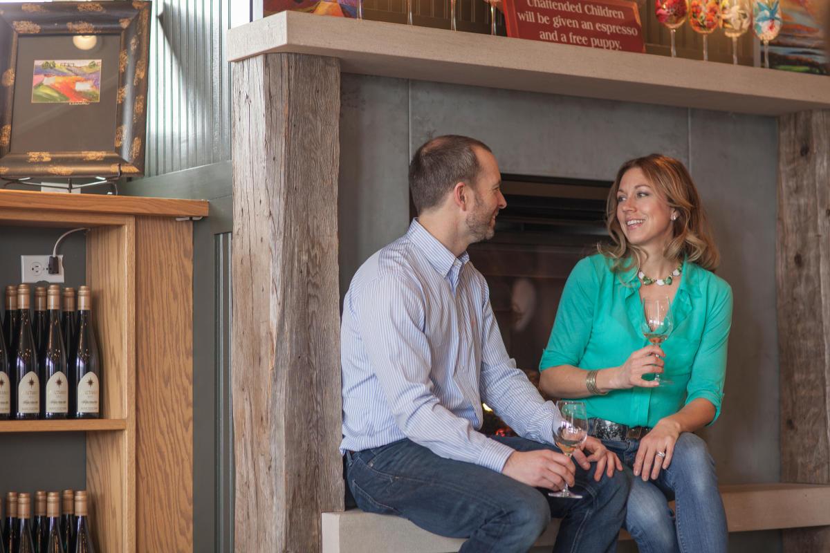 Couple Wine Tasting at Black Star Farms
