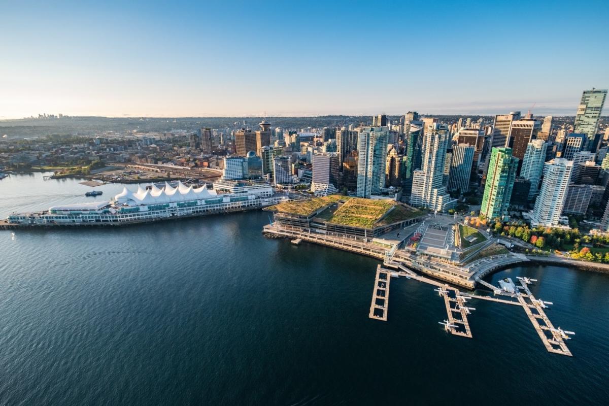 Aerial Vancouver Convention Centre Coal Harbour