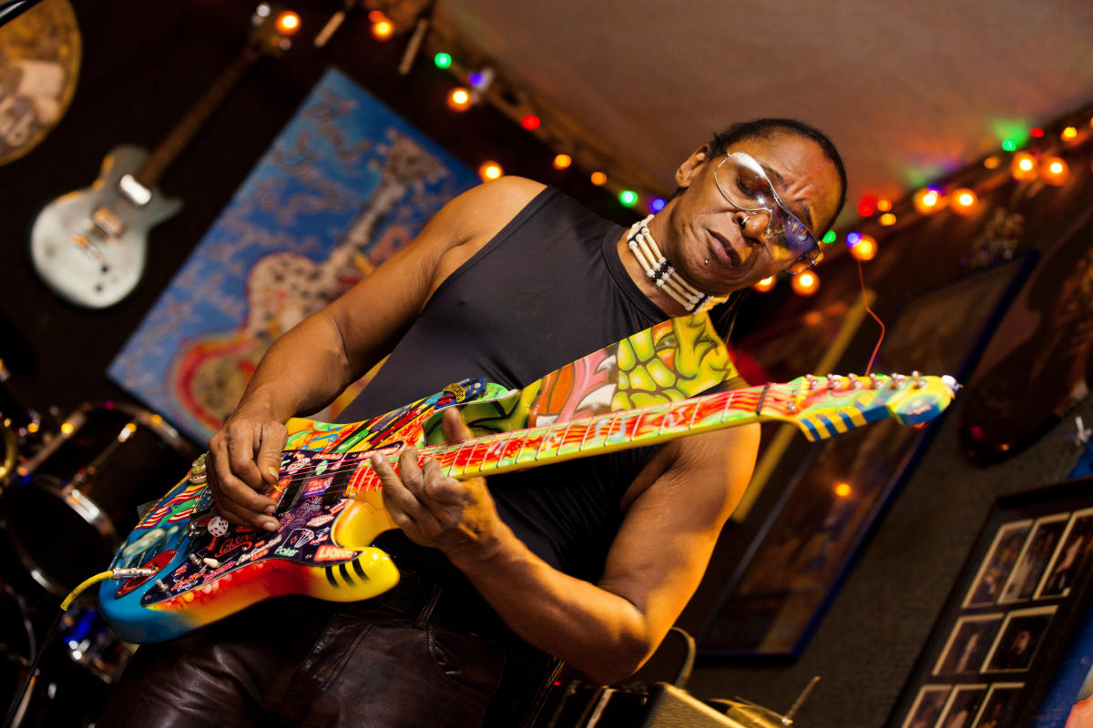 Eddie Shaw, Jr. handles guitar work for his father's band The Wolf Gang at the Bradfordville Blues Club.