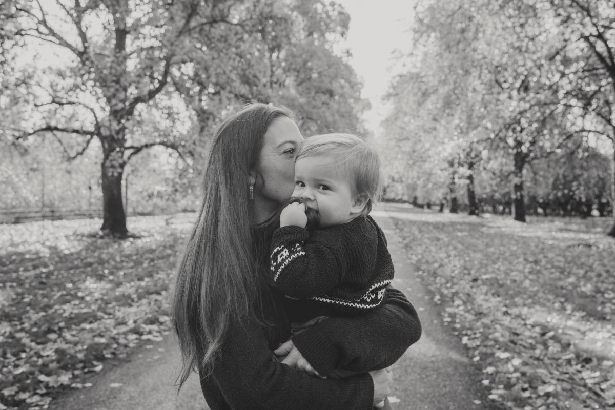 Winemaker Kate Ayres holds her son Nico