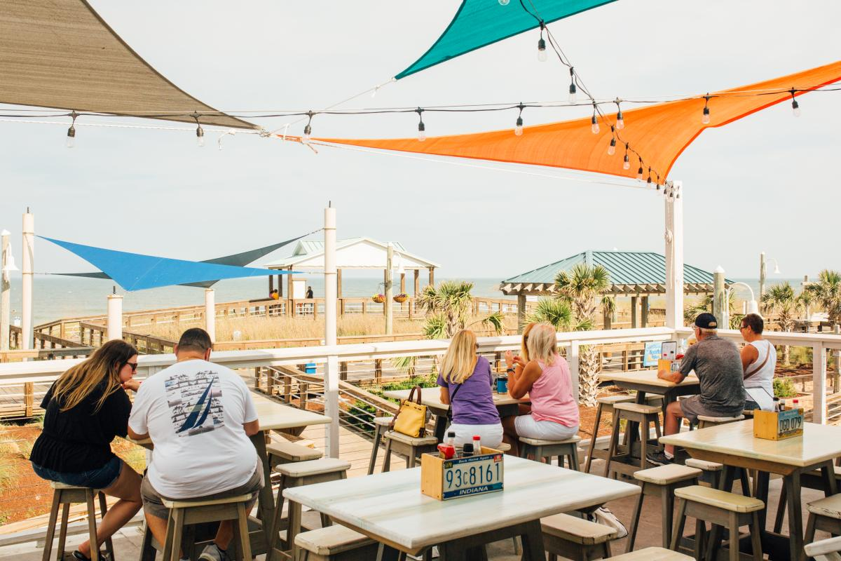 Outdoor oceanfront dining in Carolina Beach
