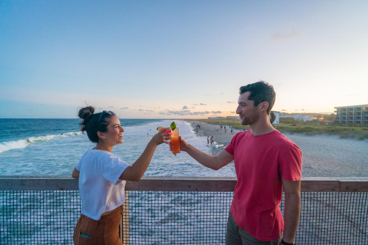 Oceanic Crystal Pier Couple with Drinks