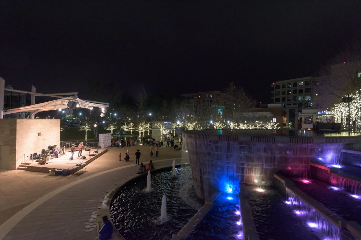 Fountains at Waterway Square during Waterway Nights