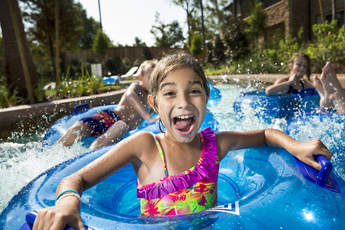 Girl Tubing at The Woodlands Resort's Lazy River