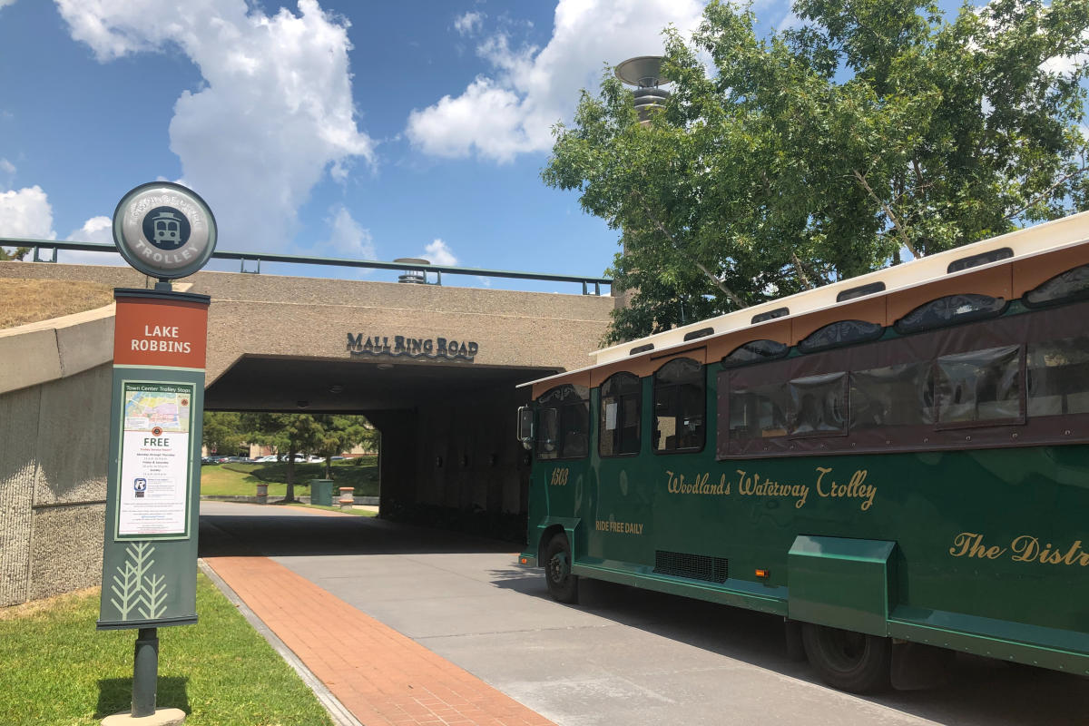 The Woodlands Waterway Trolley at the Lake Robbins Stop