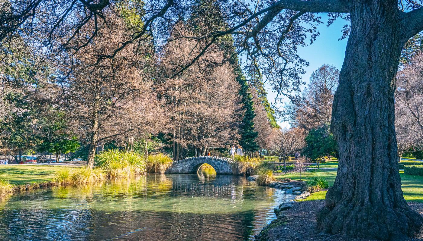 Queenstown Gardens lake and bridge