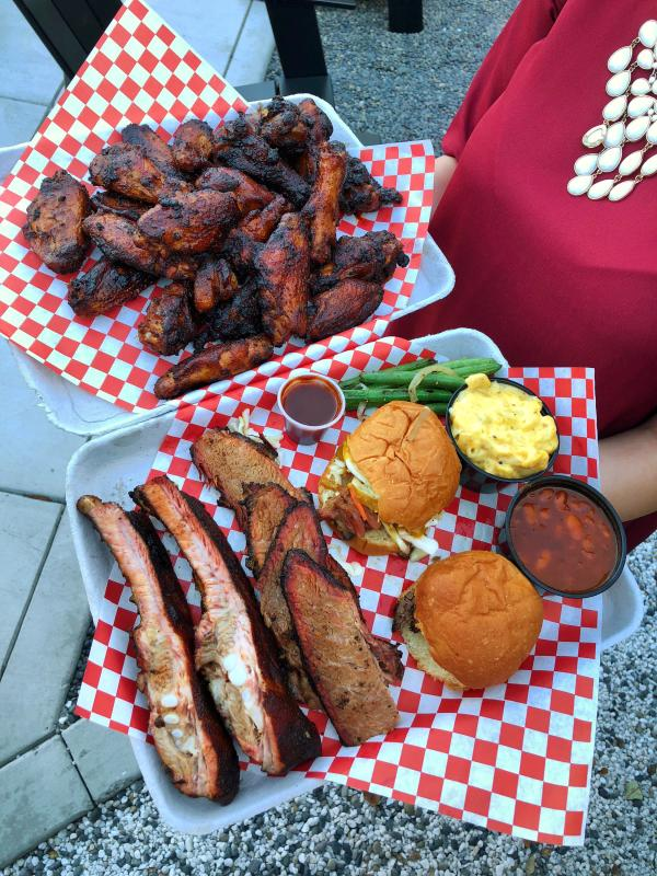 Images of two BBQ platters from Jav's BBQ