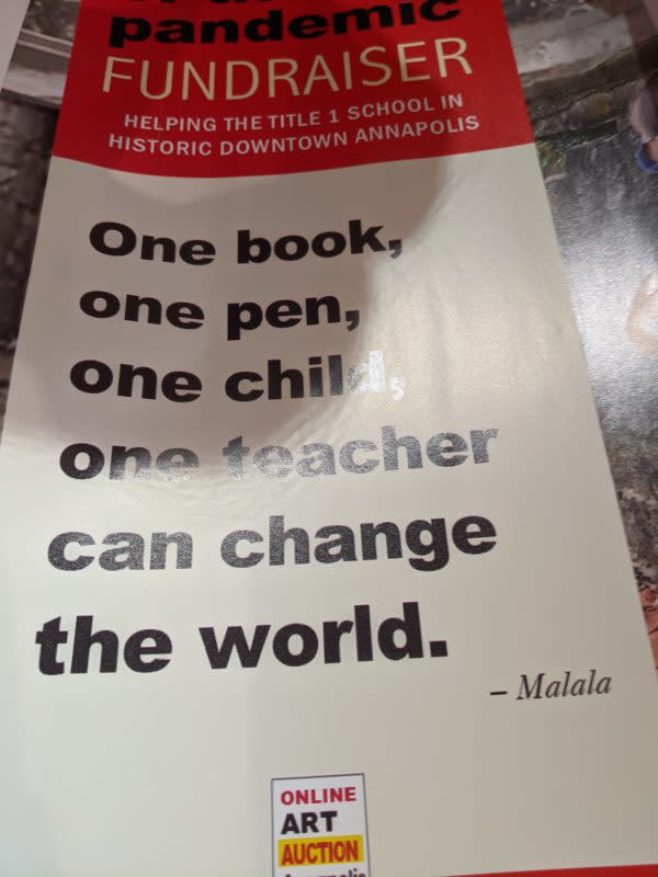 A quote from Malala Yousafzai's memoirs adorns the poster