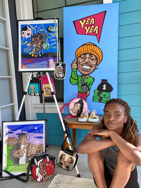 Bithia Dantoumda of Creative Days Art with her work on various mediums in Austin Texas