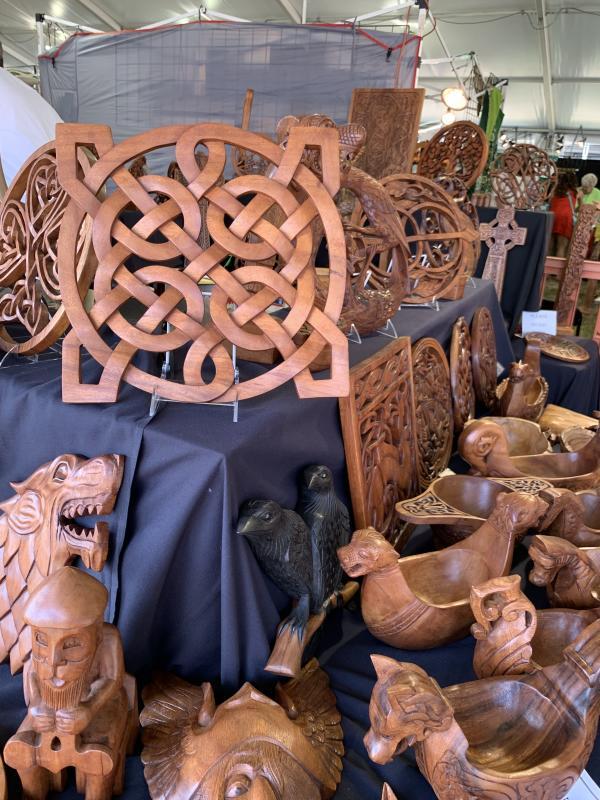 Celtic inspired wooden decoration vendor table.
