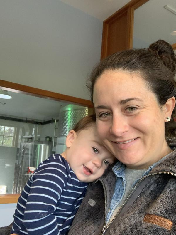 Winemaker Katie Santora with son