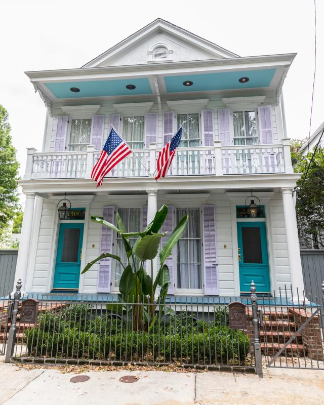Garden District home, flags