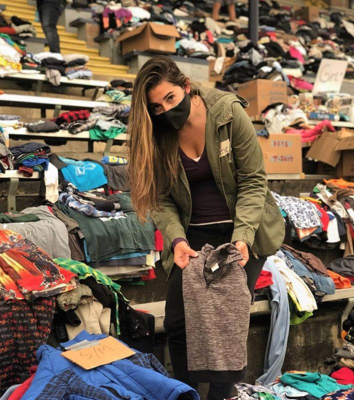 Katie Juth volunteering at Fire Relief Center