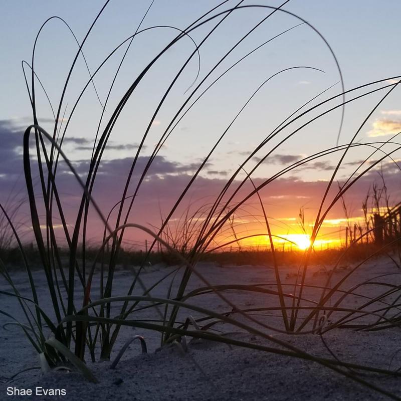 Sun setting over the ocean in Holden Beach, North Carolina.