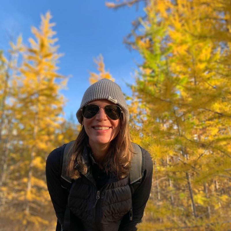 Lisa Kadane pictured with Larch Trees