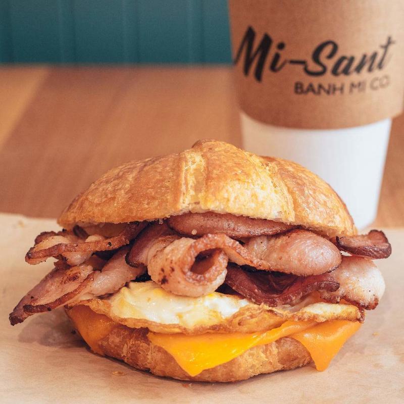 Croissant breakfast sandwich at Mi-Sant Banh Mi