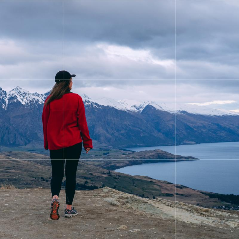 Girl hiking Queenstown Hill in Spring