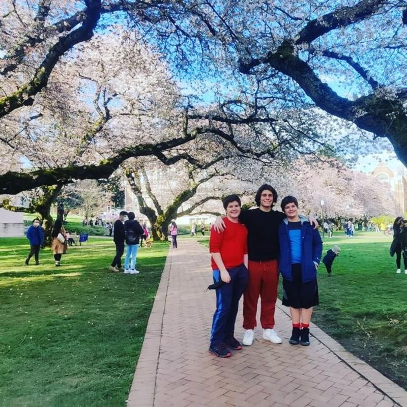 3 Price brothers experiencing the beauty of Seattle Cherry Blossoms at UW Campus
